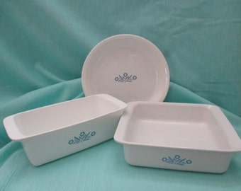 "Vintage Corning Ware, 3 Piece Bakeware Set in Blue Cornflower, 8"" Square Cke Pan, 2 Qt. Loaf Pan, & 9"" Pie Plate. 1970's"