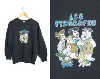 Vintage The Flintstones sweater. Les Pierrafeu. American tv series. Black pullover. Cartoon.