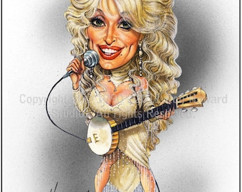 Don Howard Depiction of Dolly Parton Celebrity Caricature
