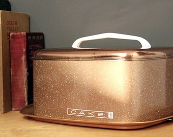 Mid Century Modern Copper Cake Carrier