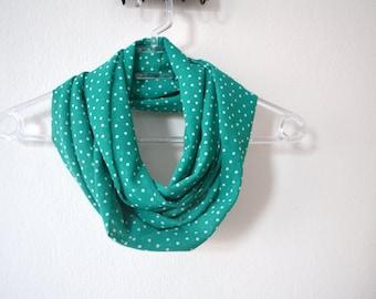 Chiffon Green and White Polka Dot Infinity Scarf, Chiffon Scarf, Summer Fashion, Women Accessories, Spring, Summer, Fall