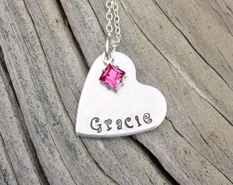 Hand Stamped Little Girls Necklace Jewelry Gift, Christmas Gift For Daughter, Niece, Granddaughter, Birthstone Jewelry Stocking Stuffer