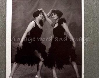 Roaring 1920s Flapper Girls Weird Dancer Art Print Vintage Lithograph 1980s Book Plate Photo Reprint Home Office Decor Black & White Dancing