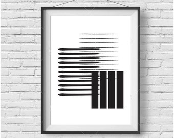 Minimalist Print, Black & White Art, Simple Poster, Geometric Art, Scandinavian Print, Brushstroke Art, Minimalist Decor, INSTANT DOWNLOAD