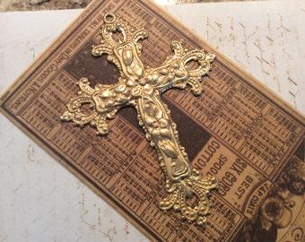 Raw  brass cross pendant 1 pc