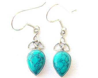 Turquoise Goddess Triquetra Earrings