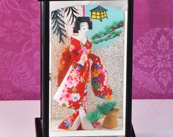 Vintage Geisha Doll in Glass Shadow Box