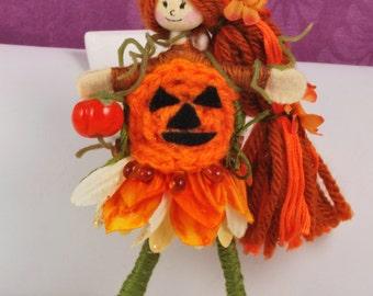 Handmade by Christine's Boutique - Acorn Fairy Doll goes Pumpkin - Patty the Pumpkin