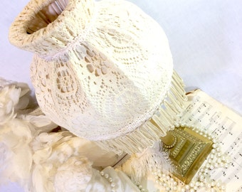 Vintage Lampshade - Retro Cream / Off White Cotton Lace with Red Tassel / Ivory Lampshade / Home Decor / Lighting / Table Lamp AV2748