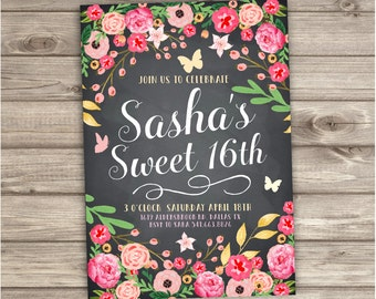 Sweet 16th Birthday Invitations Pretty Spring Flowers Floral Modern Butterfly Party Birthday Adult Birthday printable Digital File NV775
