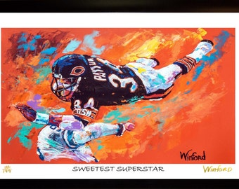 70% SALE - Walter Payton Fine-Art LIMITED Edition Paper Print From an Original Hand-Painted (Not DIGITAL/Computer) Artwork By Winford