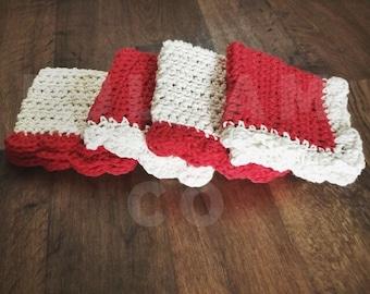 Crochet Wash Cloths - Crocheted Cotton Dish Cloths - Cotton Wash Cloth Face Cloth - Red Crochet Dish Cloths