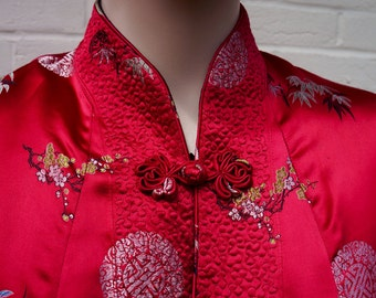 1960s red and black reversible oriental satin jacket S-M