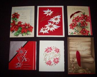 Christmas Cards Vintage Used Set Of Six Poinsettias
