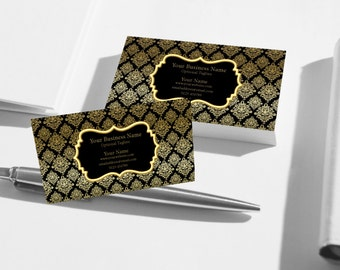 Business Cards, Premade Business Card, Printable Business Card, Digital Business Card Template - Black and Gold Damask