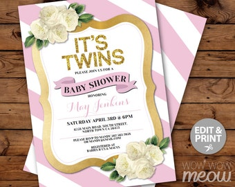 It's Twins Baby Shower Invitation Girls Invite INSTANT DOWNLOAD Pink Gold Glitter Stripe Floral Personalize Digital Party Editable Printable