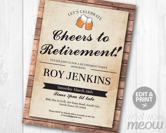 Cheers to retirement invitation beers retired invite letter cheers to retirement invitation beers retired invite letter pub instant download printable personalize male vintage cheers beers celebrate stopboris Images