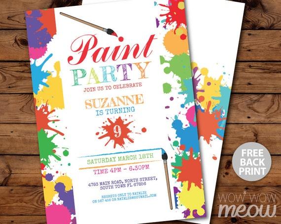 paint party invitations art birthday invite brush any age