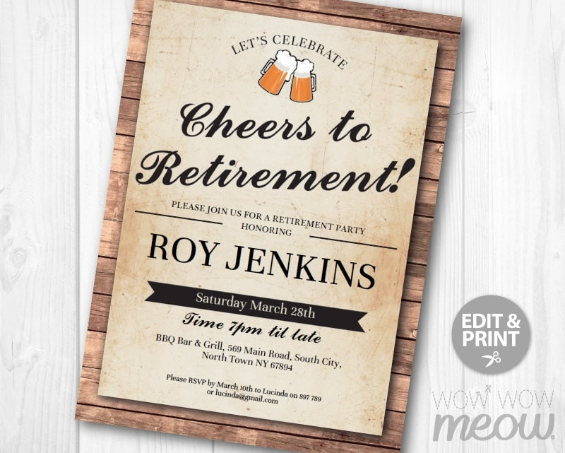 cheers to retirement invitation beers retired invite letter