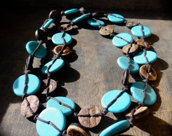 Sea Gypsy Turquoise and Coconut Wood Long Necklace