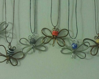 Wire wrapped butterfly pendant necklace. Custom made.