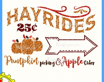Hayride Sign Pumpkin Picking and Apple Cider Pumpkin Patch Fall Autumn SVG cut file for Cricut Silhouette Scan N Cut Commercial Use