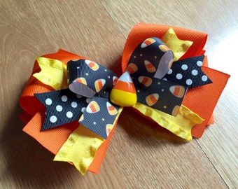 Halloween Candy Corn Bow, Halloween, Costume, Boutique Bow, Holiday Bow, Candy Corn
