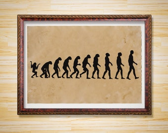 Evolution decor Human print Nature poster