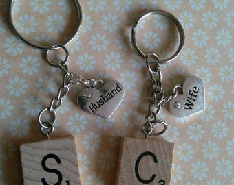 Husband and wife initial charm keyrings