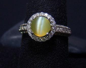 Cat's Eye Chrysoberyl Halo Ring