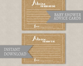 Advice for Mom Baby Shower printable cards, advice for mom to be, advice for mom dad, printable rustic baby shower cards instant download