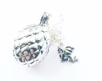 Dragon egg charm necklace