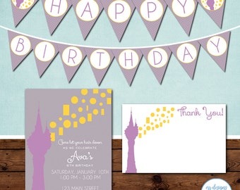 Tangled Party Package, Tangled Birthday Party Invitation, Rapunzel Birthday Invite