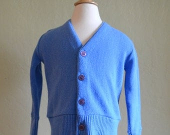 Adorable Vintage Boy's Cardigan Sweater, Blue V Neck Sweater, Campus Brand, Size 4, Grandpa Sweater, 1960s