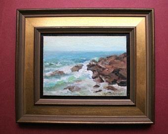 Original Oil Painting, Maine, Surf, Coast, Rocks