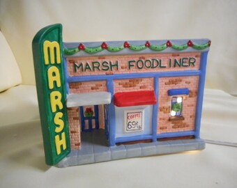 Limited Edition 1940's Light Up Replica Marsh Store