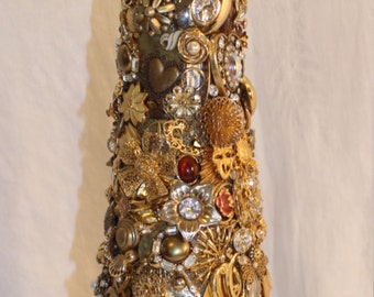 """19"""" Jeweled Gold Tree collectible, vintage, original, brilliance and bows"""