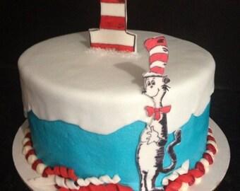 Fondant Dr. Seuss and sugarpaste number