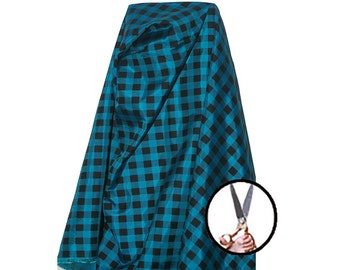 Plaid fabric tby the yard BTY Turquoise - black 100% Polyester 60'' wClothes handicraft linens bedding & home decor material Canadian seller