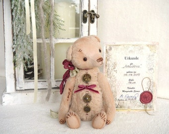 "OOAK Teddy, artist Teddy Bear, artist Teddy bear ""Amadeus"", bear 18 cm with certificate, vintage, shabby"