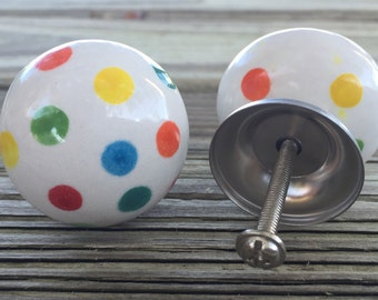 Set 8 Polka Dot Ball Knobs Hand Painted Ceramic White Red Blue Yellow Crayon Colors