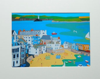 St Ives, Cornwall, Unframed Print  by Cornish Artist Richard Lodey, Seaside View