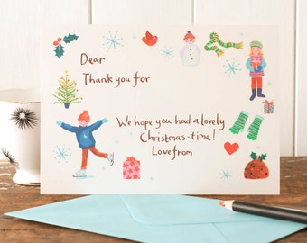 Christmas Thank You Postcards for children, Illustrative thanks postcards with a skater boy and snowball making girl by Moobaacluck