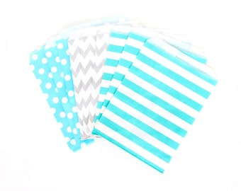 Coastal Cruiser Treat bags in Chevron Dot and Stripe , Blue and Silver Treat Bags, Silver Popcorn Glitter Boys Birthday Paper