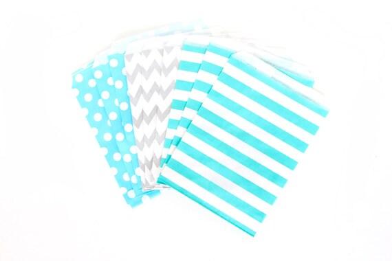 Coastal Cruiser Treat bags in Chevron Dot and Stripe , Blue and Silver Treat Bags, Silver Popcorn Glitter Boys Birthday Paper