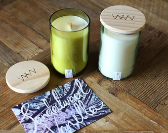 Recycled wine bottle candle - Sandalwood + Vanilla soy wax with wood wick