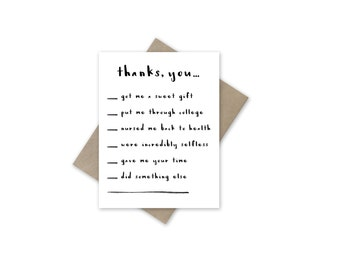 Thank You Card- Fill in the Blank