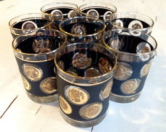 8 Vintage Black and Gold Coin Lowball Glasses by Libbey