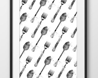 Modern Kitchen Fork and Spoon Black and White Print, Watercolor Kitchen Print, Kitchen Decor Wall Art, Kitchen Painting Watercolor (A0428)
