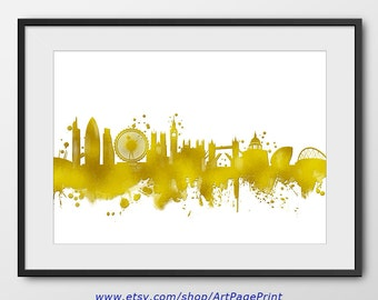 London Skyline Gold Painting Print No2, London Wall Art, London Gold, London Painting, London Cityscape, England Wedding Gift (A0439)